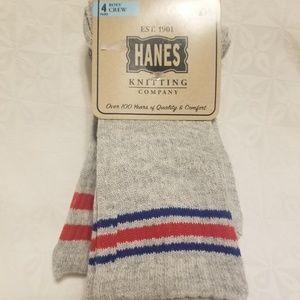 Hanes Knitting Company boys crew socks 4 pack